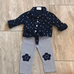 Navy blue & white polka dot tie shirt & leggings